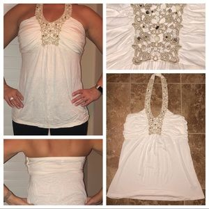 Sexy cream halter top w/gold beading/lace detail